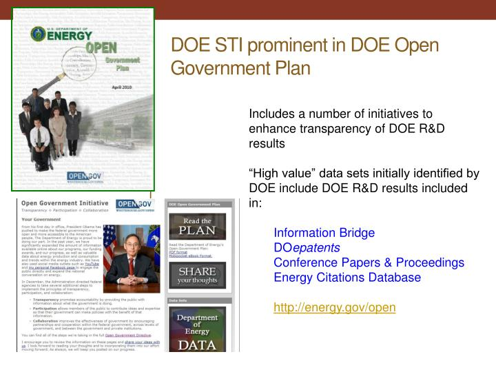 DOE STI prominent in DOE Open Government Plan