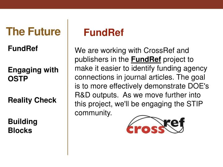 We are working with CrossRef and publishers in the