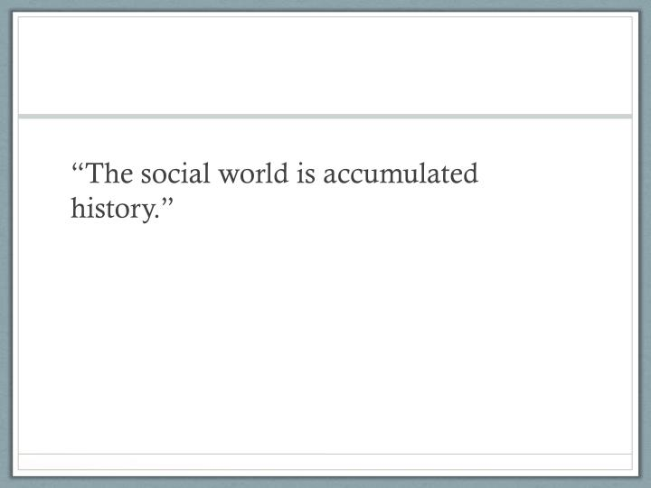 """The social world is accumulated history."""