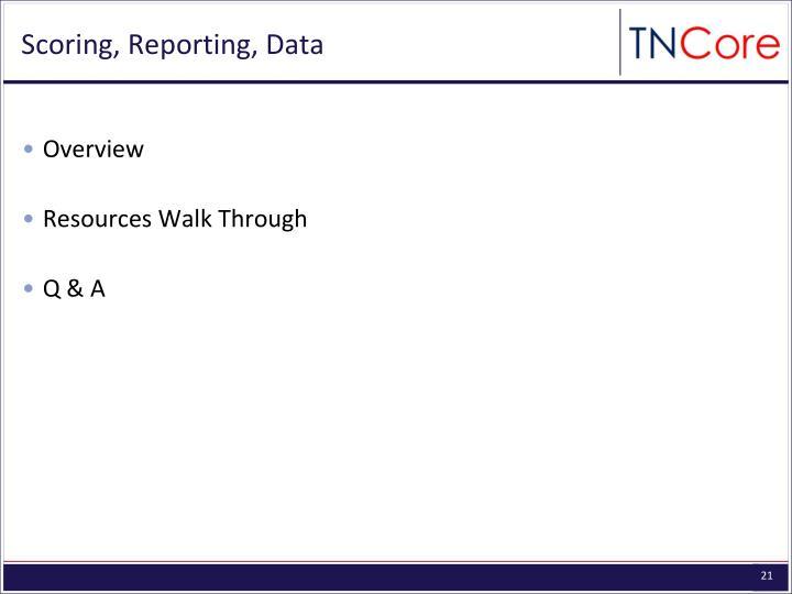 Scoring, Reporting, Data