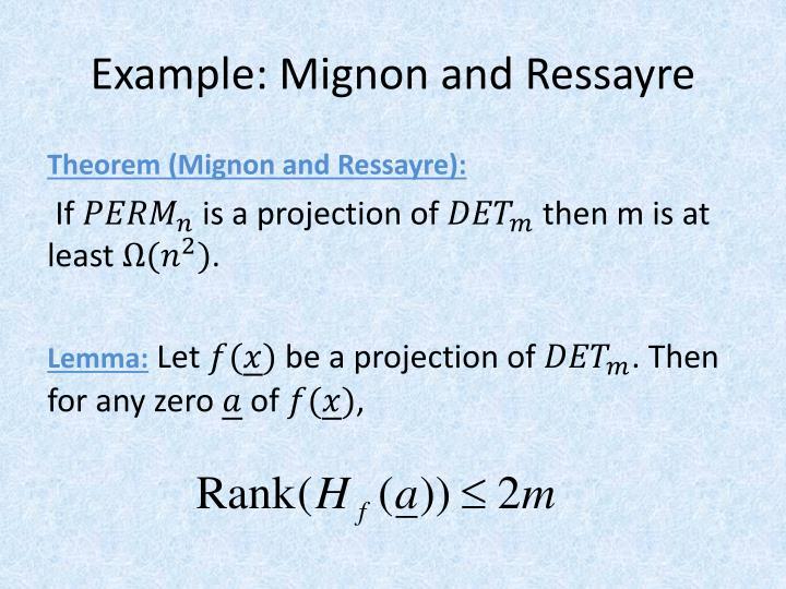 Example: Mignon and