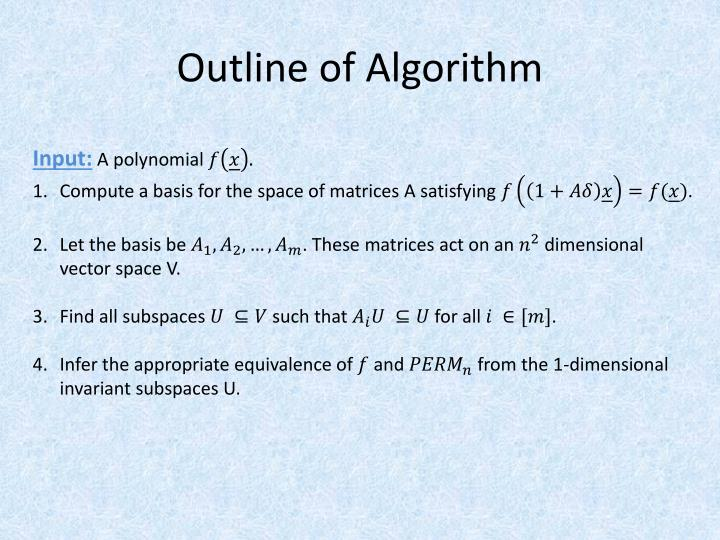 Outline of Algorithm