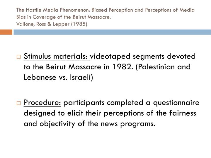 The Hostile Media Phenomenon: Biased Perception and Perceptions of Media Bias in Coverage of the Beirut Massacre.