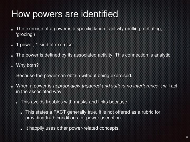How powers are identified