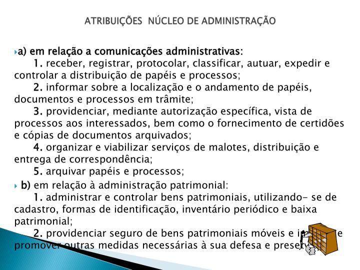 ATRIBUIÇÕES  NÚCLEO DE ADMINISTRAÇÃO