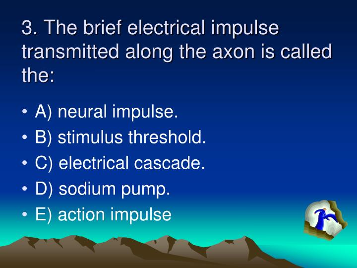 3. The brief electrical impulse transmitted along the axon is called the: