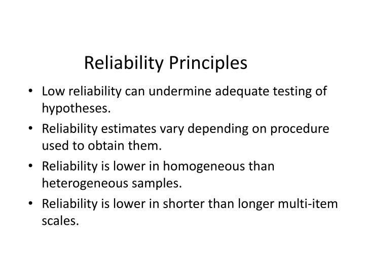 Reliability Principles