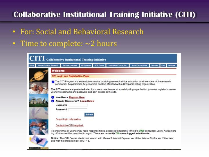 Collaborative Institutional Training Initiative (CITI)