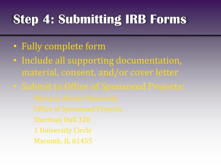 Step 4: Submitting IRB Forms