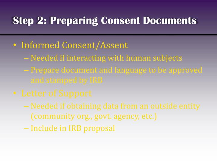 Step 2: Preparing Consent Documents