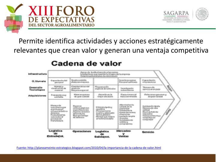 Permite identifica actividades y acciones estratégicamente relevantes que crean valor y generan una ventaja competitiva