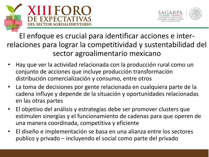 Hay que ver la actividad relacionada con la producción rural como un conjunto de acciones que incluye producción transformación distribución comercialización y consumo, entre otros