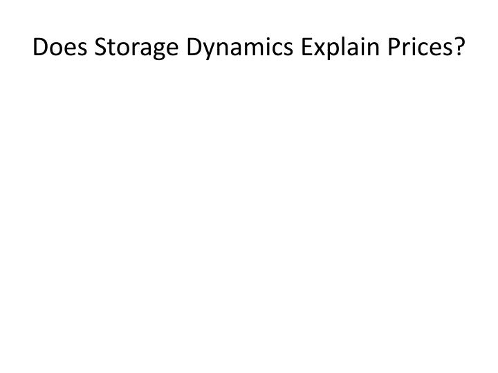Does Storage Dynamics Explain Prices?