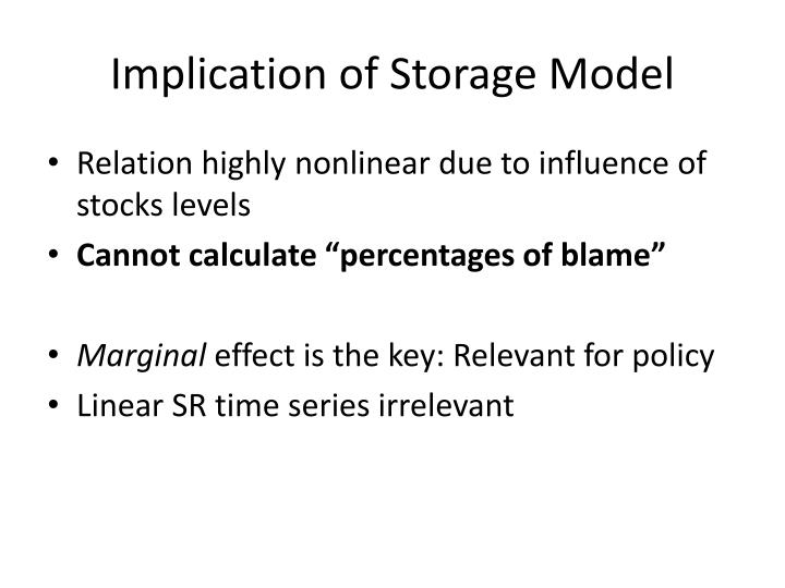 Implication of Storage Model