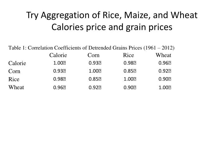 Try Aggregation of Rice, Maize, and Wheat