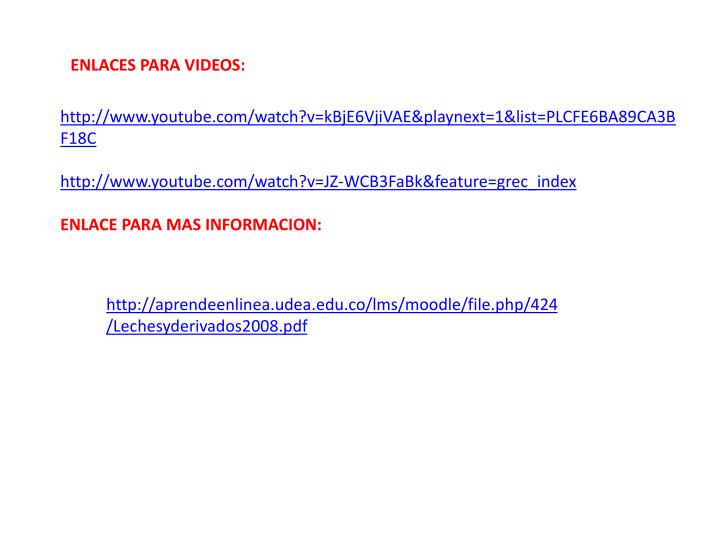ENLACES PARA VIDEOS: