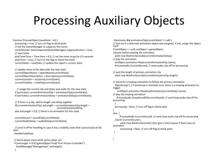 Processing Auxiliary Objects