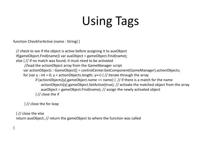 Using Tags