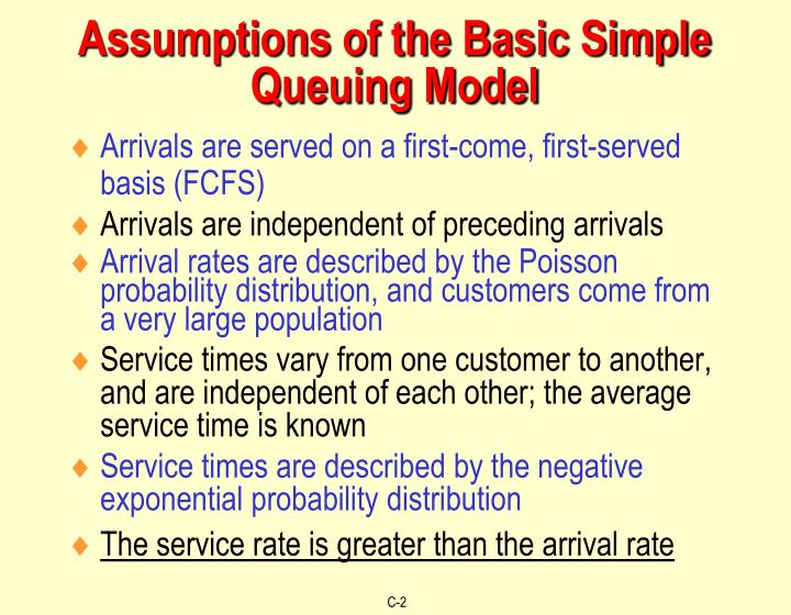 Assumptions of the basic simple queuing model