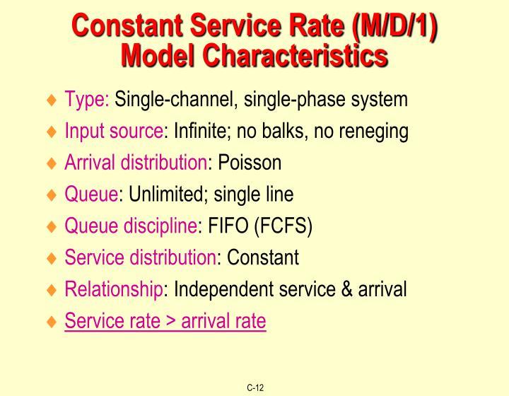 Constant Service Rate (M/D/1) Model Characteristics
