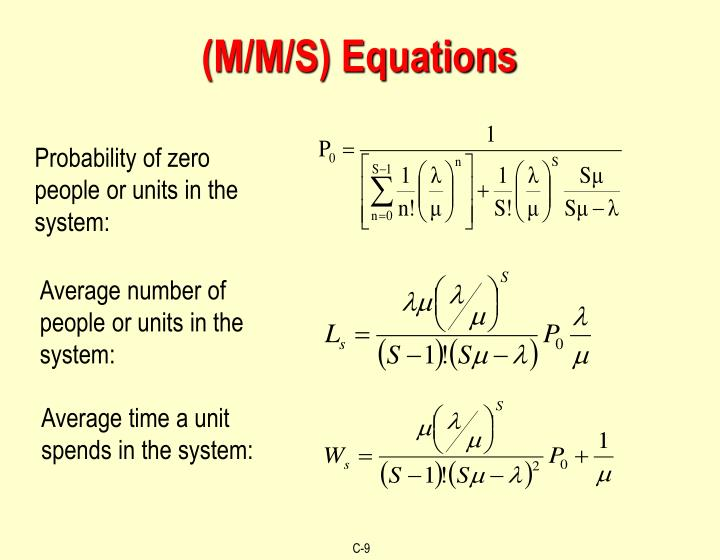 (M/M/S) Equations