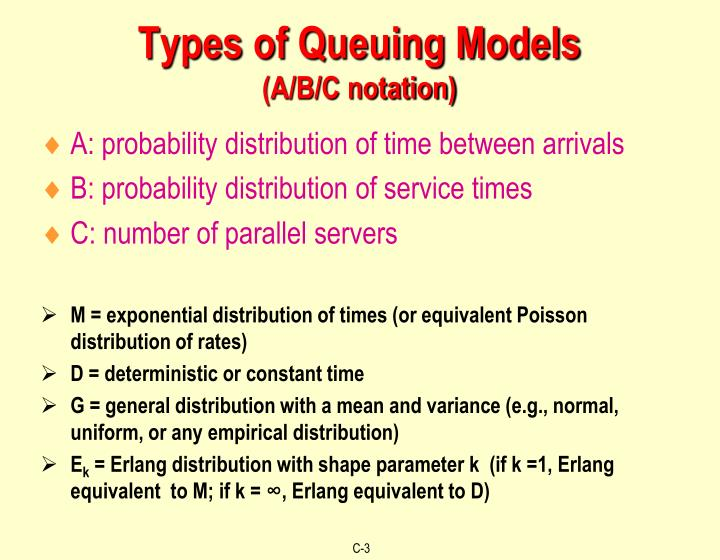 Types of queuing models a b c notation