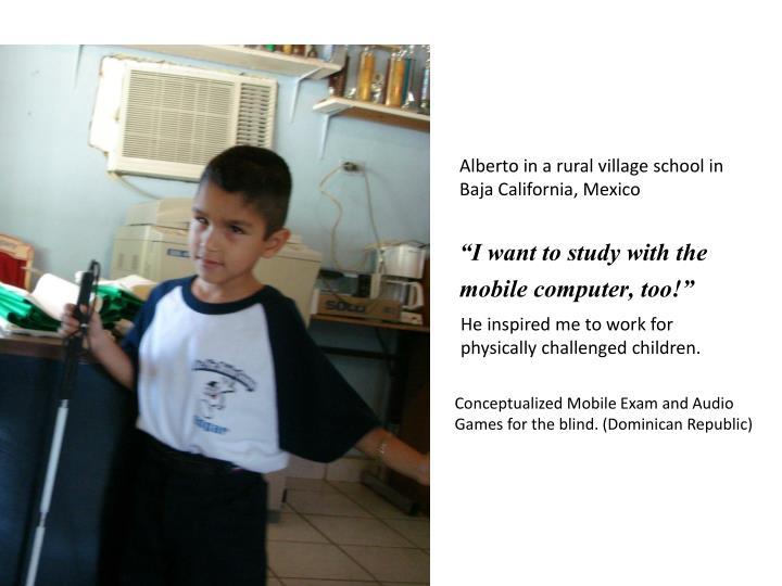 Alberto in a rural village school in