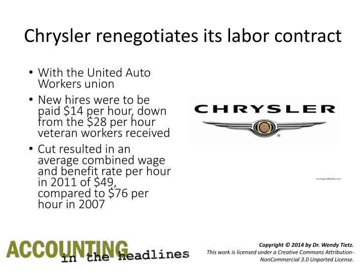 Chrysler renegotiates its labor contract