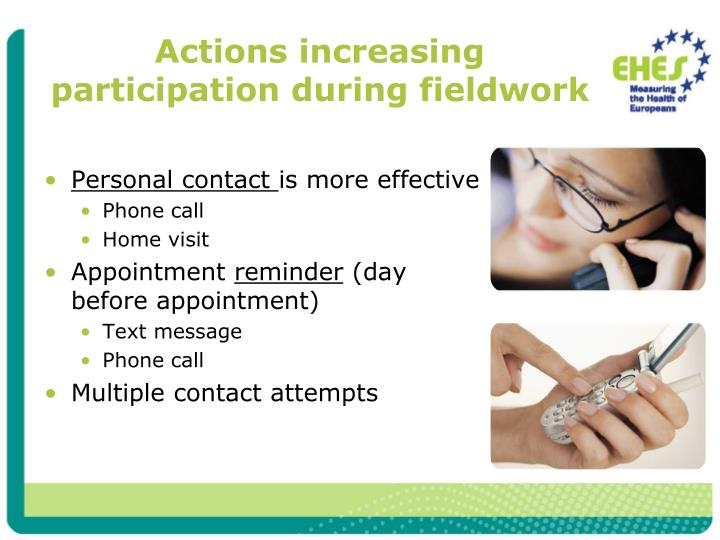 Actions increasing participation during fieldwork
