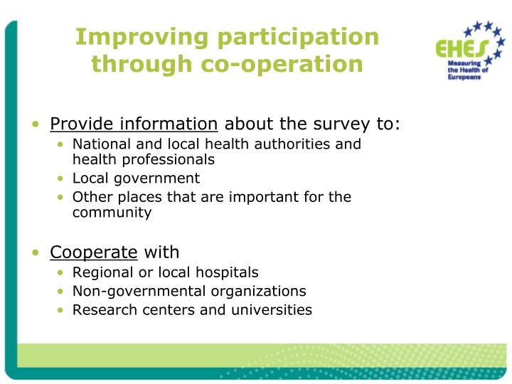 Improving participation through co-operation
