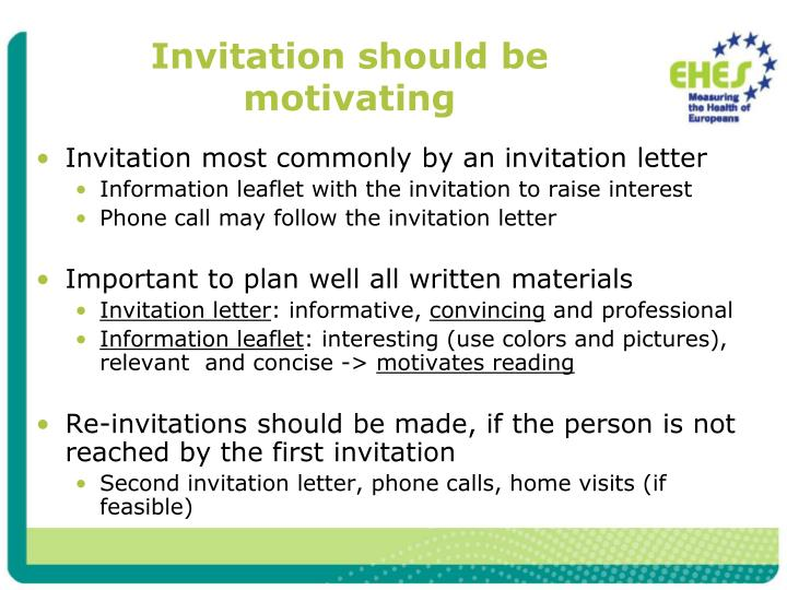 Invitation should be motivating