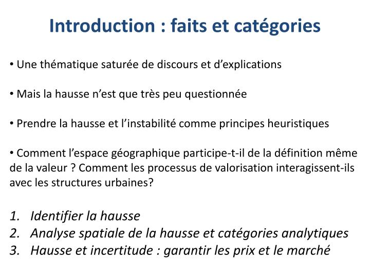 Introduction faits et cat gories