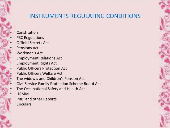INSTRUMENTS REGULATING CONDITIONS