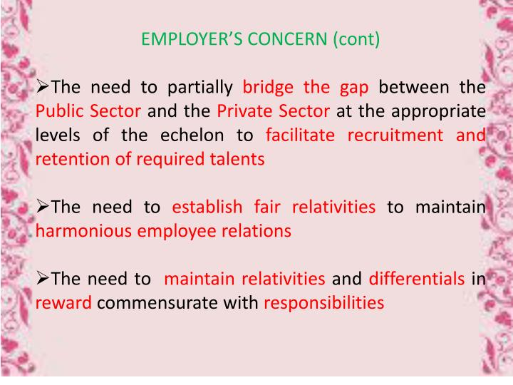 EMPLOYER'S CONCERN (cont)