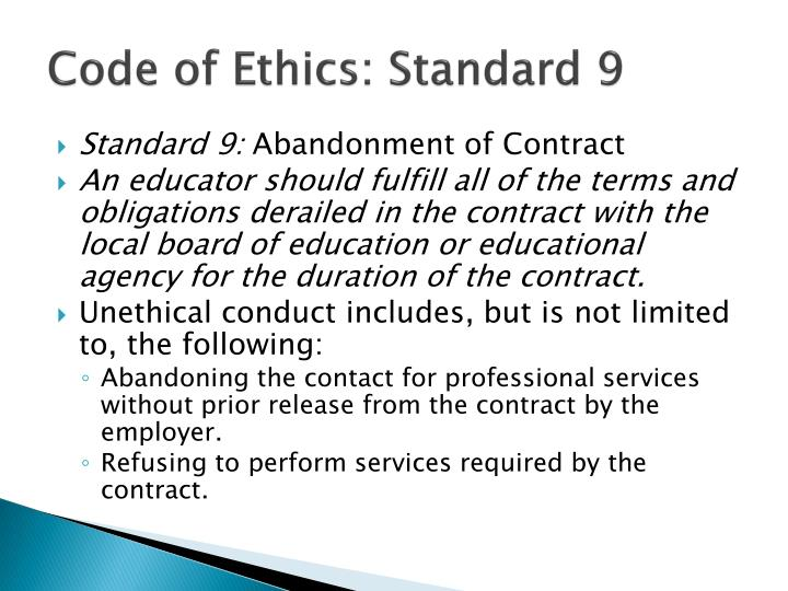 Code of Ethics: Standard 9