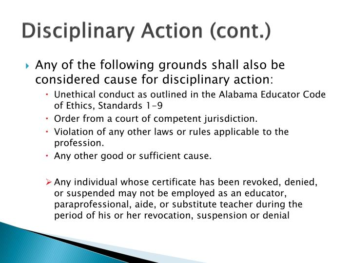 Disciplinary Action (cont.)