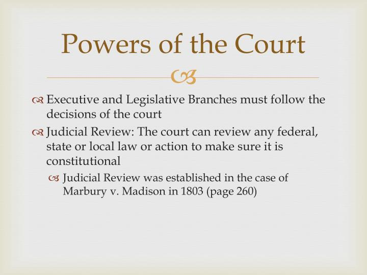 Powers of the Court