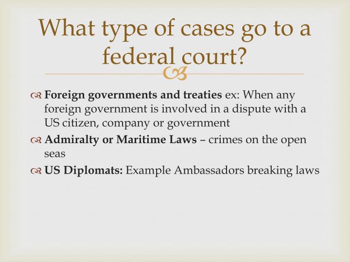What type of cases go to a federal court?