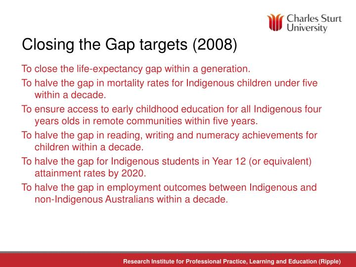 Closing the Gap targets (2008)
