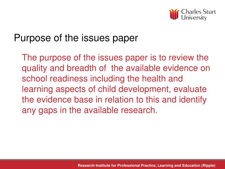 Purpose of the issues paper