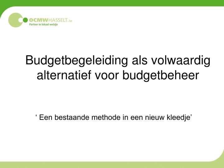 Budgetbegeleiding als volwaardig alternatief voor budgetbeheer