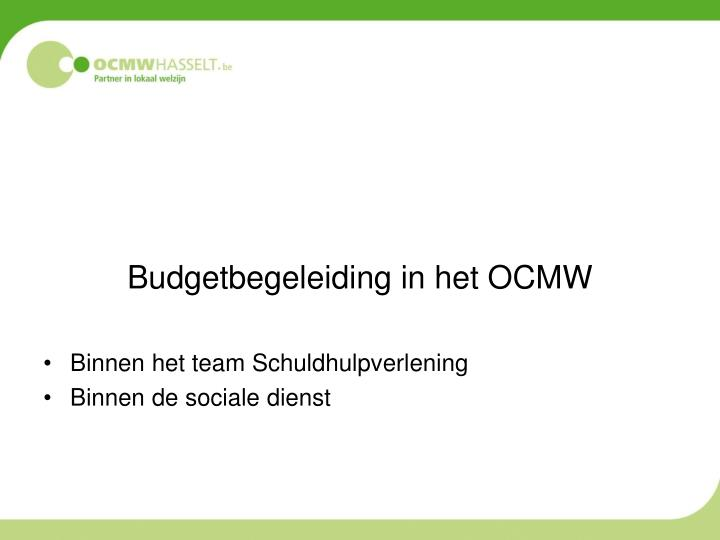 Budgetbegeleiding in het OCMW