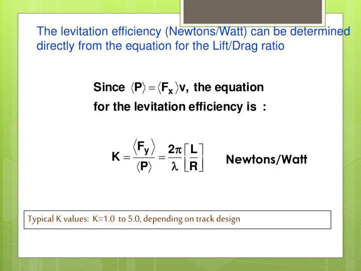 The levitation efficiency (Newtons/Watt) can be determined directly from the equation for the Lift/Drag ratio
