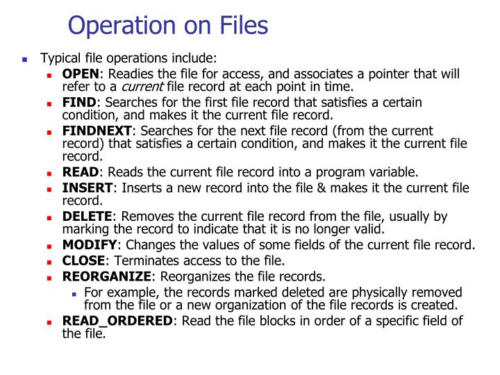 Operation on Files