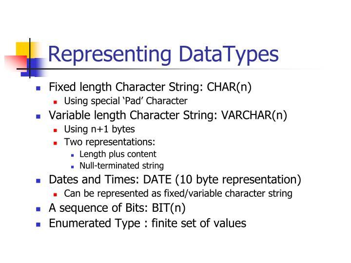 Representing DataTypes