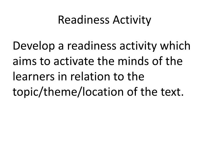 Readiness Activity