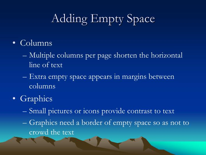 Adding Empty Space