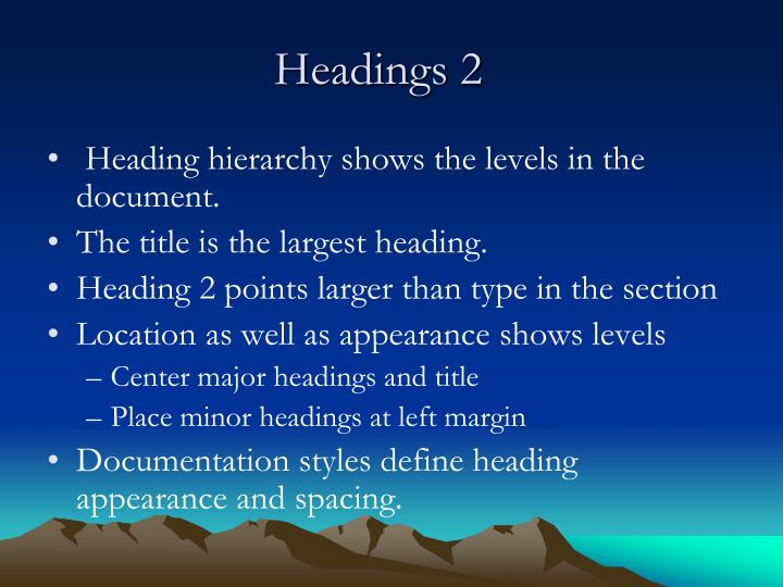 Headings 2