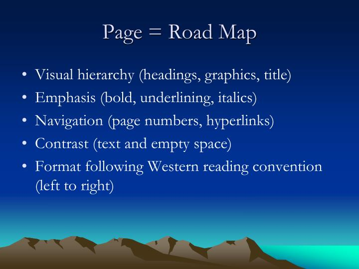 Page = Road Map