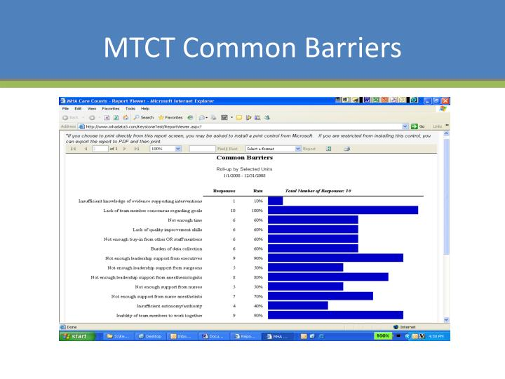 MTCT Common Barriers